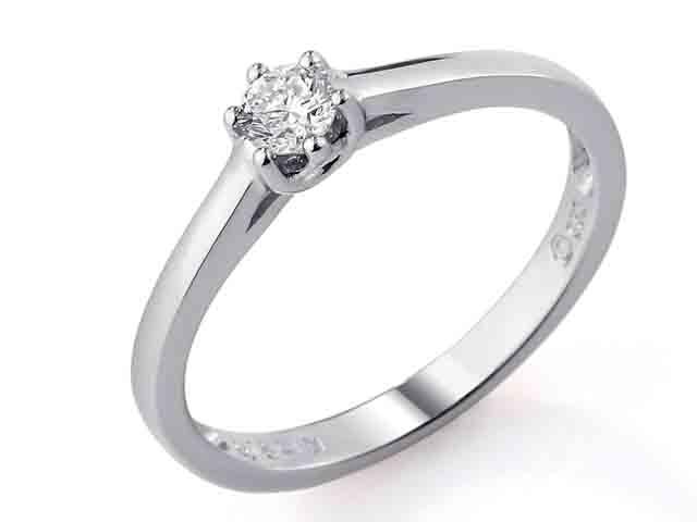 Diamantove Prsteny Zasnubni Prsten S Diamantem Bile Zlato