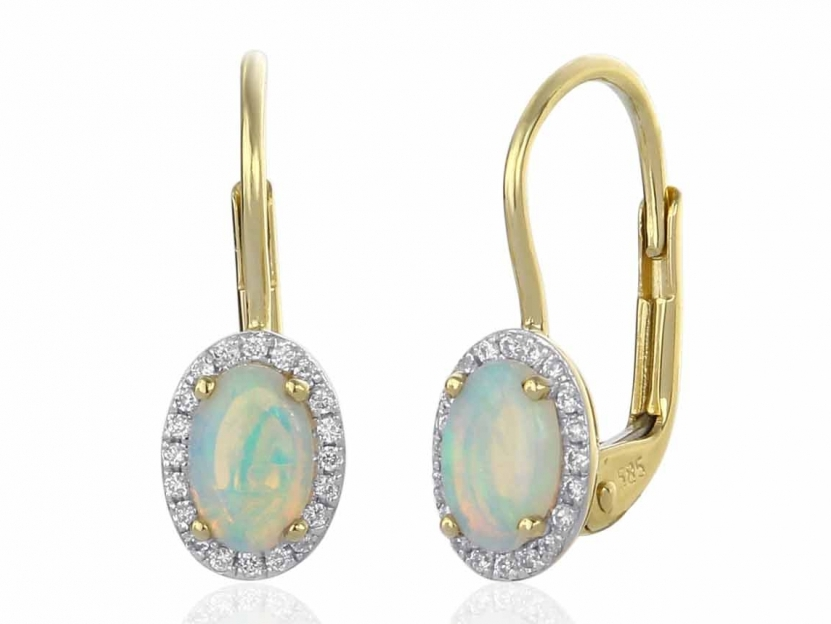 8d5d373cf Zlaté opálové náušnice s diamanty Briline M-3830990-5-0-18 | Šperky