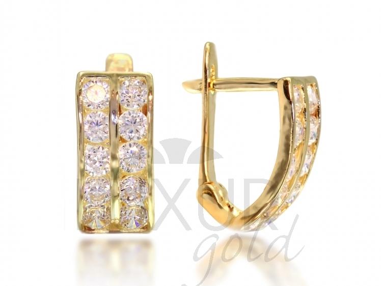 916419bd7 Elegantní zlaté náušnice se zirkony Briline M-1131350   Šperky
